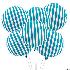 Turquoise Striped Mylar Balloons