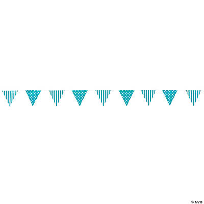 Turquoise Striped & Polka Dot Pennant Banner