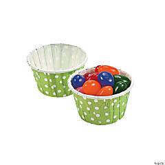 Lime Green Polka Dot Snack Cups