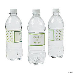 Personalized Lime Green Polka Dot Water Bottle Labels