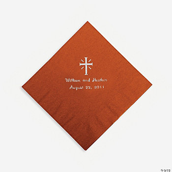 Personalized Silver Cross Luncheon Napkins - Brick