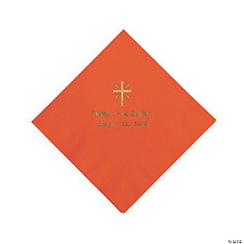 Personalized Gold Cross Luncheon Napkins - Orange