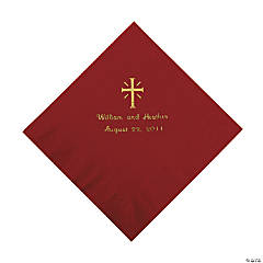 Personalized Gold Cross Luncheon Napkins - Burgundy