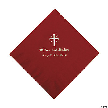 Personalized Silver Cross Luncheon Napkins - Burgundy