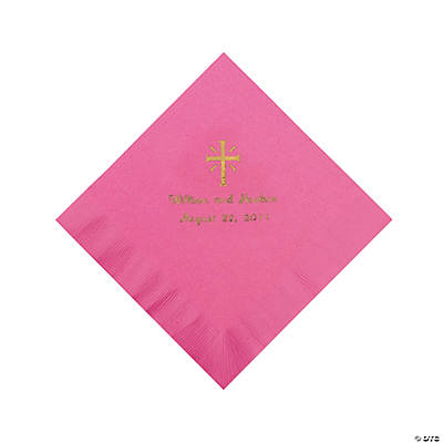 Personalized Gold Cross Luncheon Napkins - Candy Pink