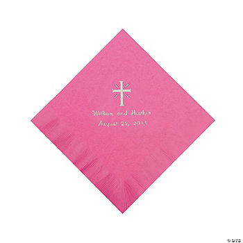 Personalized Silver Cross Luncheon Napkins - Candy Pink