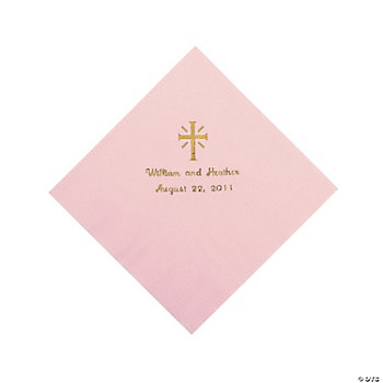 Personalized Silver Cross Luncheon Napkins - Pink