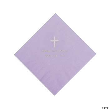Personalized Silver Cross Beverage Napkins - Lilac