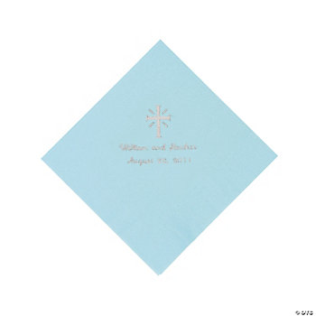 Personalized Silver Cross Beverage Napkins - Light Blue