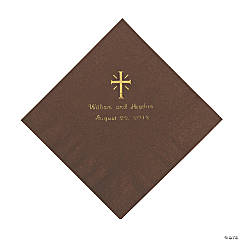 Personalized Gold Cross Beverage Napkins - Chocolate