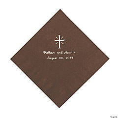 Personalized Silver Cross Beverage Napkins - Chocolate
