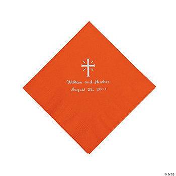 Personalized Silver Cross Beverage Napkins - Orange