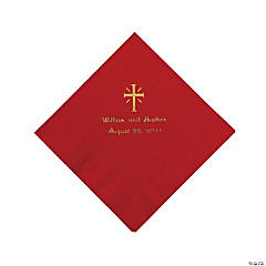 Personalized Gold Cross Beverage Napkins - Red