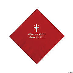 Personalized Silver Cross Beverage Napkins - Red
