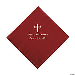 Personalized Silver Cross Beverage Napkins - Burgundy