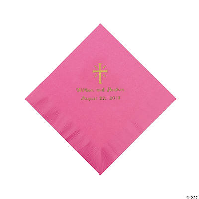 Personalized Gold Cross Beverage Napkins - Candy Pink