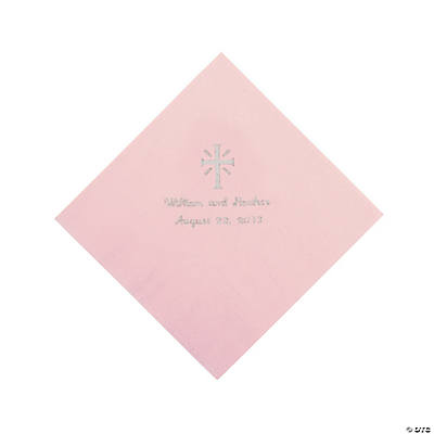 Personalized Silver Cross Beverage Napkins - Pink