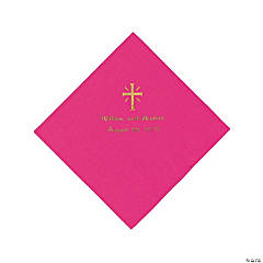 Personalized Gold Cross Beverage Napkins - Hot Pink