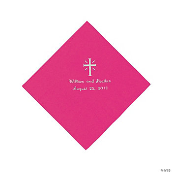 Personalized Silver Cross Beverage Napkins - Hot Pink