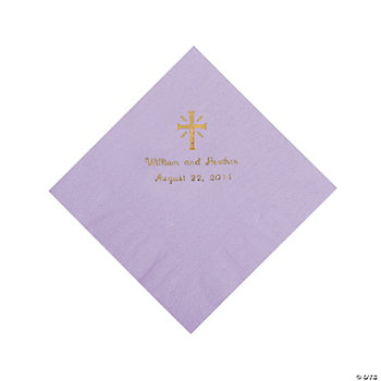 Personalized Gold Cross Luncheon Napkins - Lilac
