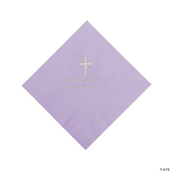 Personalized Silver Cross Luncheon Napkins - Lilac