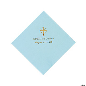Personalized Gold Cross Luncheon Napkins - Light Blue