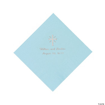 Personalized Silver Cross Luncheon Napkins - Light Blue