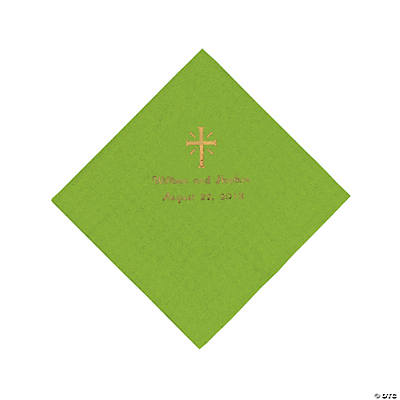 Personalized Gold Cross Luncheon Napkins - Lime Green