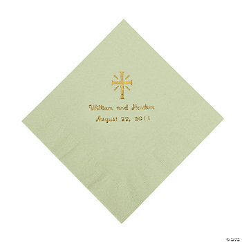 Personalized Gold Cross Luncheon Napkins - Sage Green
