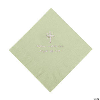 Personalized Silver Cross Luncheon Napkins - Sage Green