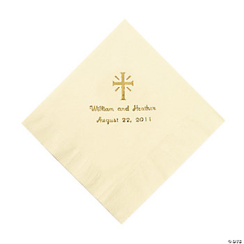 Personalized Gold Cross Luncheon Napkins - Ivory