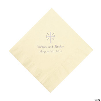 Personalized Silver Cross Luncheon Napkins - Ivory