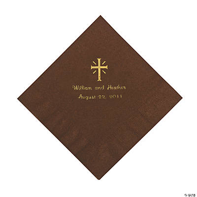 Personalized Gold Cross Luncheon Napkins - Chocolate