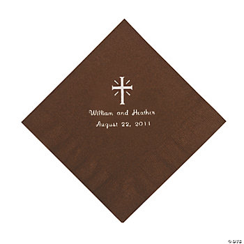 Personalized Silver Cross Luncheon Napkins - Chocolate