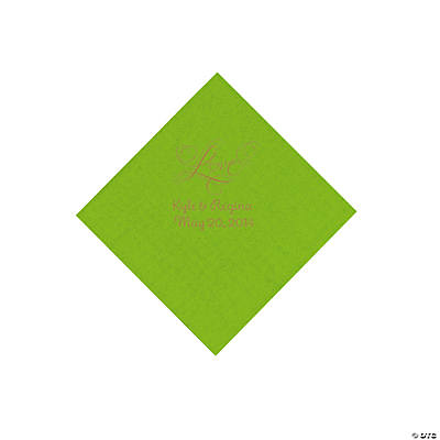 "Personalized Gold ""Love"" Beverage Napkins - Lime Green"