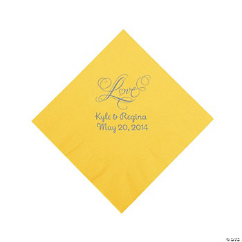 "Personalized Silver ""Love"" Luncheon Napkins - Yellow"
