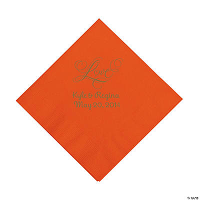 "Personalized Gold ""Love"" Luncheon Napkins - Orange"