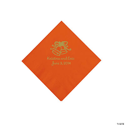 Personalized Gold Wedding Bell Beverage Napkins - Orange