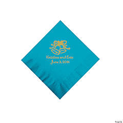 Personalized Gold Wedding Bell Beverage Napkins - Turquoise