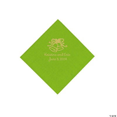 Personalized Gold Wedding Bell Beverage Napkins - Lime Green