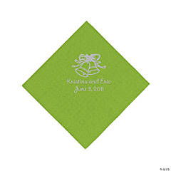 Personalized Silver Wedding Bell Beverage Napkins - Lime Green