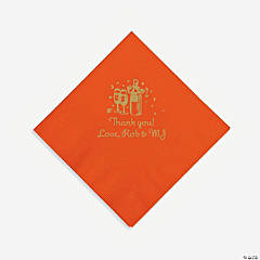 Personalized Gold Champagne Beverage Napkins - Orange