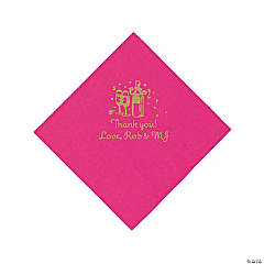 Personalized Gold Champagne Beverage Napkins - Hot Pink