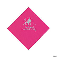 Personalized Silver Champagne Beverage Napkins - Hot Pink