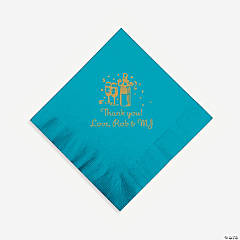 Personalized Gold Champagne Beverage Napkins - Turquoise