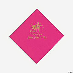 Personalized Gold Champagne Luncheon Napkins - Hot Pink