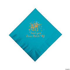 Personalized Gold Champagne Luncheon Napkins - Turquoise