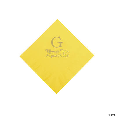 Personalized Gold Monogram Beverage Napkins - Yellow