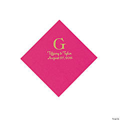 Personalized Gold Monogram Beverage Napkins - Hot Pink