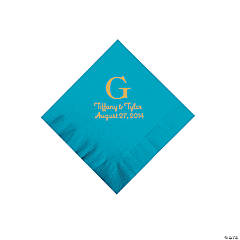 Personalized Gold Monogram Beverage Napkins - Turquoise